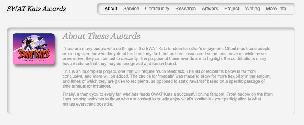 SWAT Kats Awards